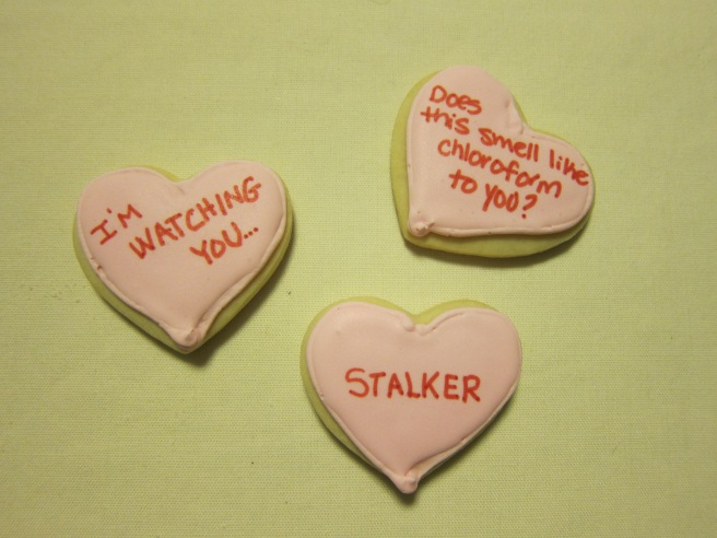 creepy convo heart cookies