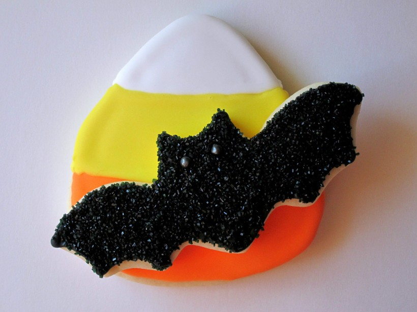 Candy Corn Cookie and Bat Cookie