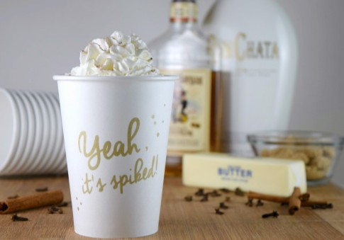 Hot Buttered RumChata is the perfect drink to warm you up on a cold winter night! #cocktails #rum #slowcooker