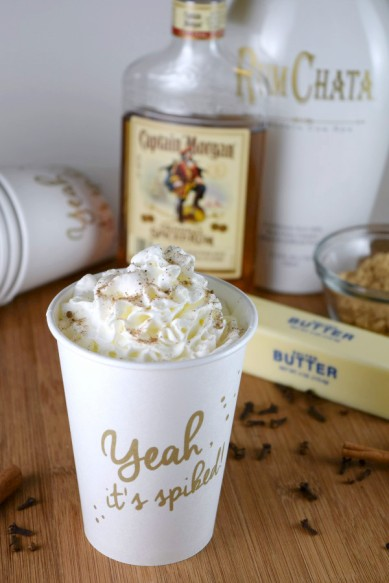 Hot Buttered RumChata is the perfect drink to warm you up on a cold winter night! #cocktails #rum #rumchata #slowcooker