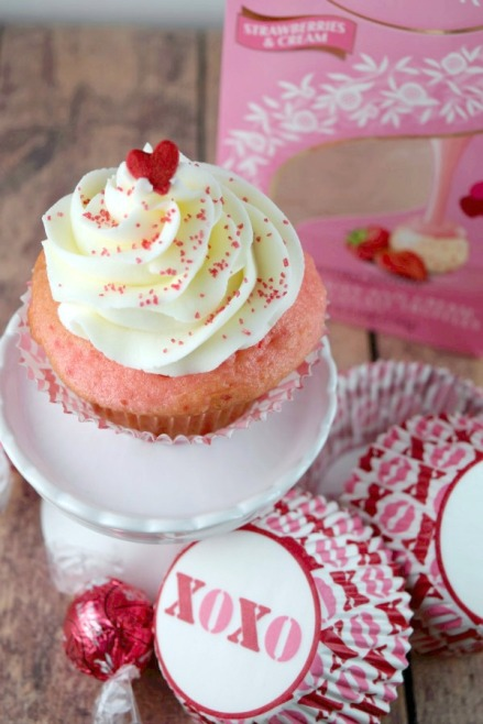 Strawberries and Cream cupcakes with a surprise inside! Perfect for Valentine's Day! From Shake Bake and Party