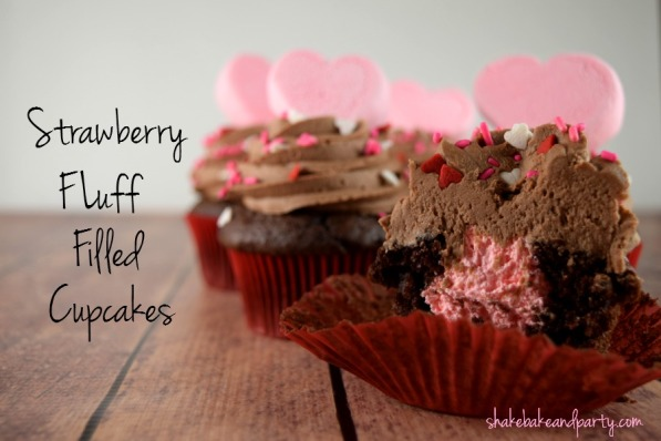 Devil's Food cupcakes filled with Strawberry Fluff cream.  The perfect Valentine's Day treat!